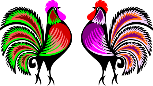 cut-out roosters colorful roosters