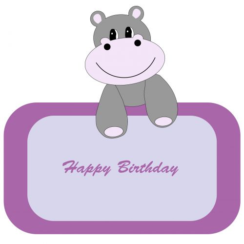 Cute Hippo Birthday Banner