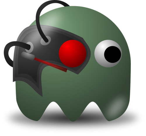 cyborg,borg,pacman,pac-man,game,computer game,baddie,arcade,free vector graphics