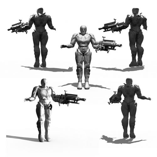 cyborg bio mechanics render
