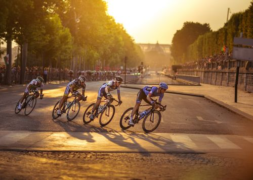 cyclists twilight atmosphere