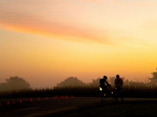 Cyclists At Dawn