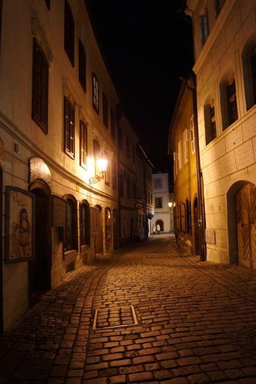czech krumlov czech republic at night