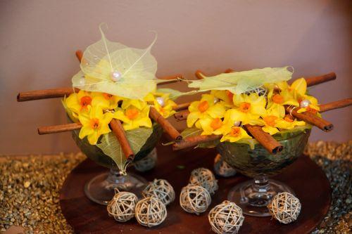 išdėstymas, gražus, daffodil, narcizai, dekoruoti, apdaila, gėlių, gėlė, gėlės, šviežias, oranžinė, romantiškas, pavasaris, narcizas, dafodilo gėlių išdėstymas