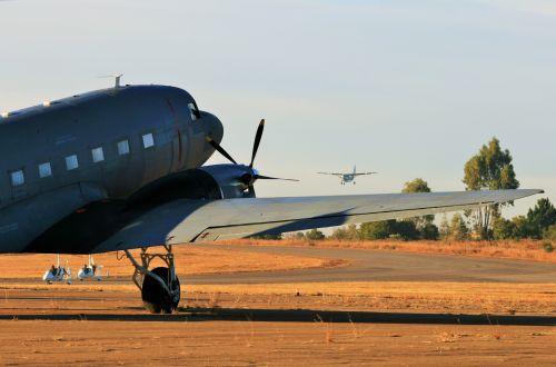 Dakota With Arriving Air Craft