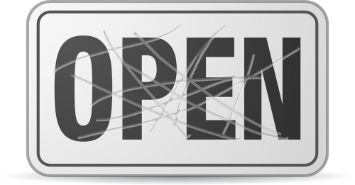 damaged open sign