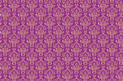 Damask Background Gold, Purple