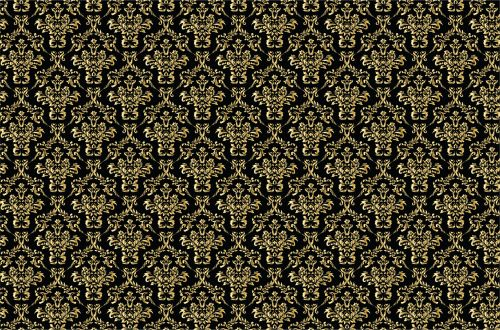 Damask Background Gold, Black