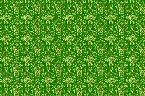 Damask Background Gold, Green