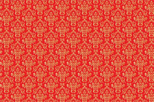 Damask Background Gold, Red