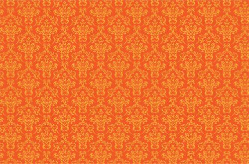 Damask Pattern Background Orange