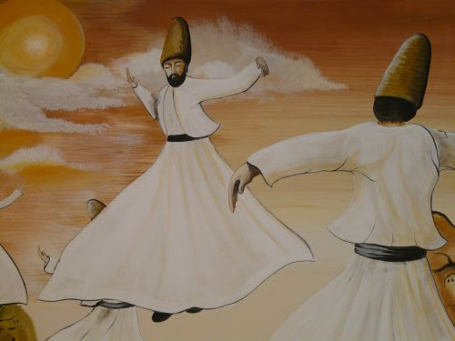 dance dervishes rotate towels