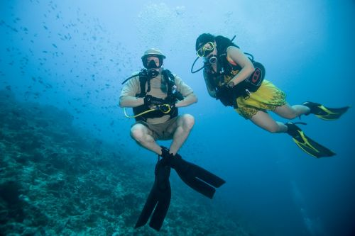 dance under water ocean at the bottom