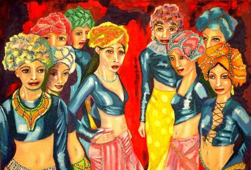 dancers oil pastel canvas