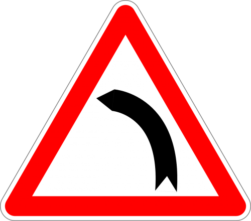 dangerous curve to the left traffic sign sign