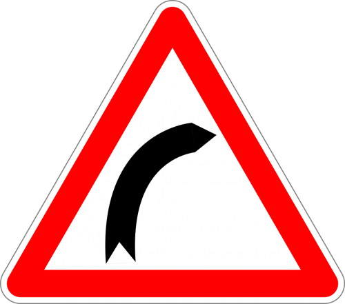 dangerous curve to the right traffic sign sign