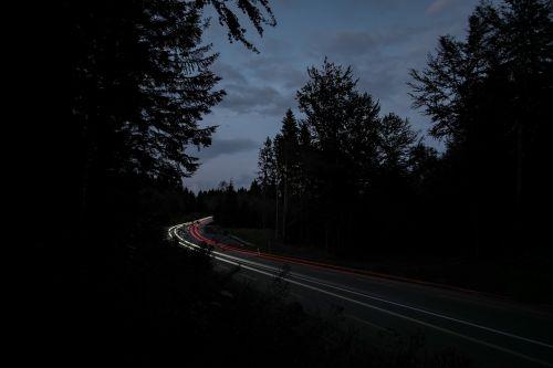 dark light streaks road