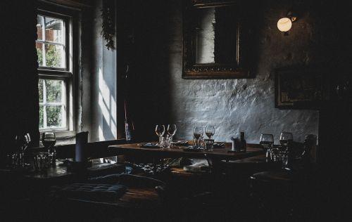 dark restaurant table