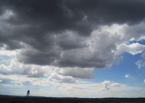 debesys, tamsi, sunkus, audringas, horizontas, juostelė & nbsp, mėlynas & nbsp, dangus, tamsus sunkus dangus