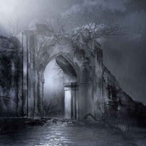 lietus, naktis, vartai, tamsi, šviesa, lašai, migla, tamsi lietingą naktį