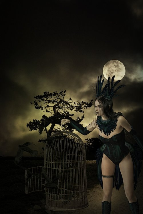 darkness  moon  full moon