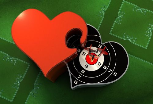 darts,arrows,heart,bull's eye,luck,together,relationship,connectedness,promise,symbol,connection,loyalty,combines,greeting card,valentine's day,romantic,love,for two,two