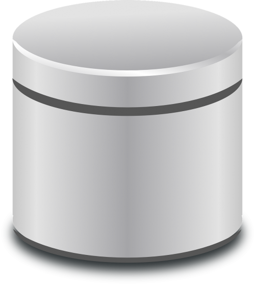 database cylinder metallic