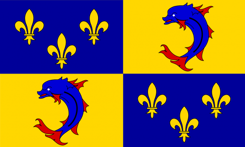 dauphine,coat of arms,historical,dolphin,france,flag,french,fish,animal,province,mammal,fleur-de-lis,free vector graphics