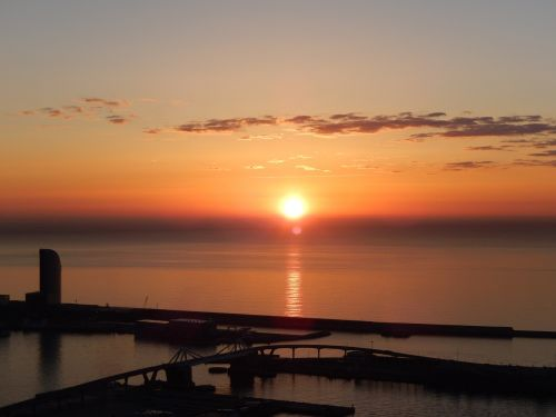 dawn barcelona sea