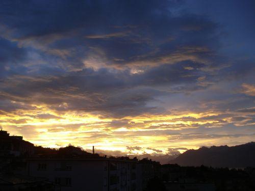 dawn sky sun