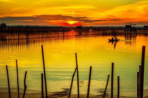aušra, lagūnas, atspalvis, Vietnamas, amateurpic, saulėtekis, aušros marios