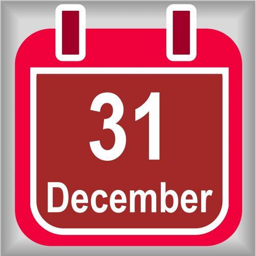december 31 calendar red