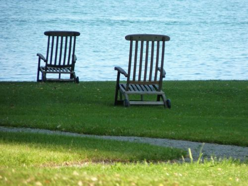 deck chair lake water