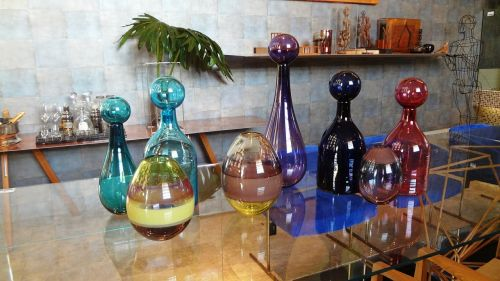 decorative objects colourful vases glass vases