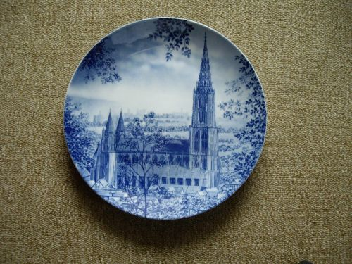 decorative plate ceramic blue