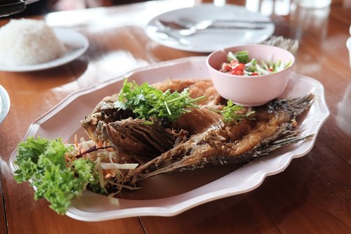 deep fried snapper with fish sauce  deep fried fish  fish