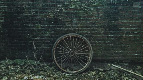 defoliation,tire,brick wall,heel,country,wall,old,round,rusty