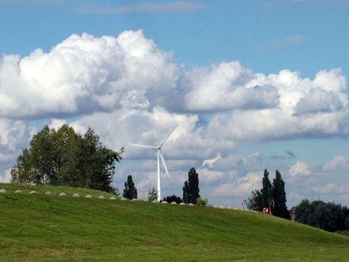 Dike Windmill Sky