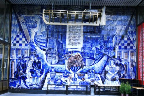 Delft Mural At Shop Entrance
