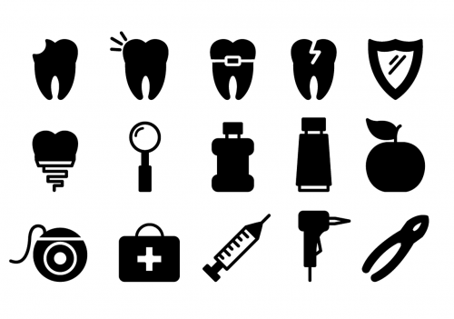 dental icons dentist tooth