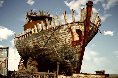 derelict boat abandoned