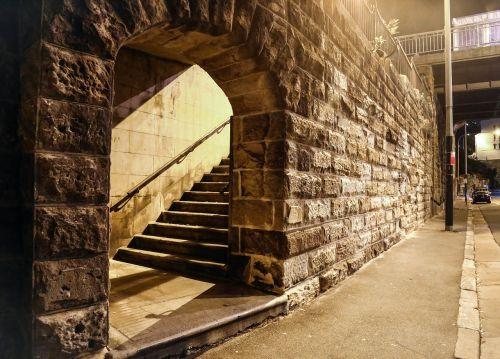 deserted night stairs