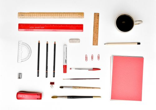 desk stationery organized