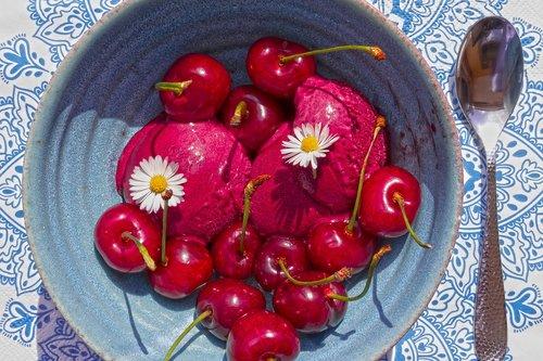 dessert  sorbet  cherries