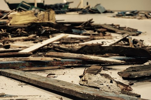 destroyed  torn apart  wood