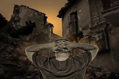 destroyed houses destruction man