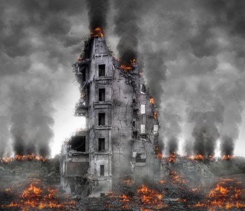destruction smoke disaster
