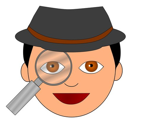 detective  magnifying glass  examine