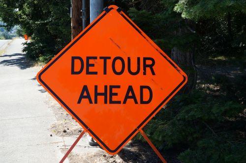 detour sign road