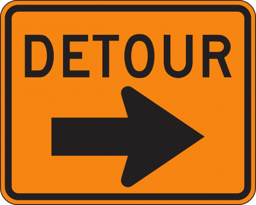 detour sign warning